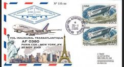 A380-87T2 : 2009 - Pli voyagé à bord 'Vol inaugural A380 Air France Paris-NY'