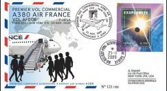 A380-89T2 : 2009 - Pli '1er vol commercial Paris-NY du 1er A380 Air France'