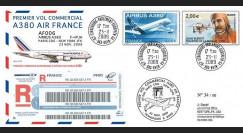 A380-89R : 2009 - Pli RECO '1er vol commercial Paris-NY A380 Air France'