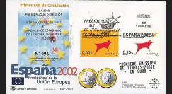 PE445-11 : 2002 - FDC 1er Jour TP 'Introduction de l'Euro' - Espagne
