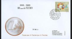 PE570-BU : 2009 - FDC Bulgarie '1er Jour TP 10 ans de l'Euro'