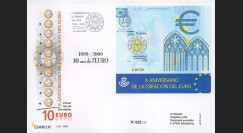 PE570-ESP : 2009 - FDC Espagne '1er Jour Bloc 10 ans de l'Euro'