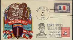 DEB 46-1 T1 : 1946 - FDC patriotique USA '2e anniversaire du D-Day'