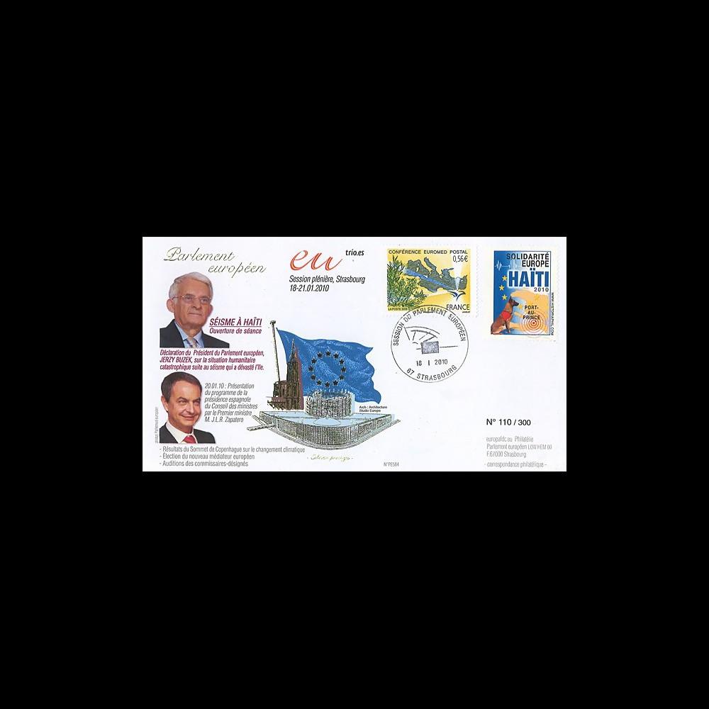 PE584 : 2009 - FDC Session PE Présidence espagnol et solidarité HAITI
