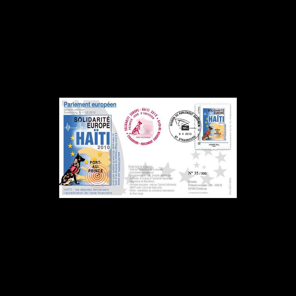 PE586-PJ2 : 2010 - FDC Session PE '1er Jour TPP Solidarité HAITI' - Monde 20g
