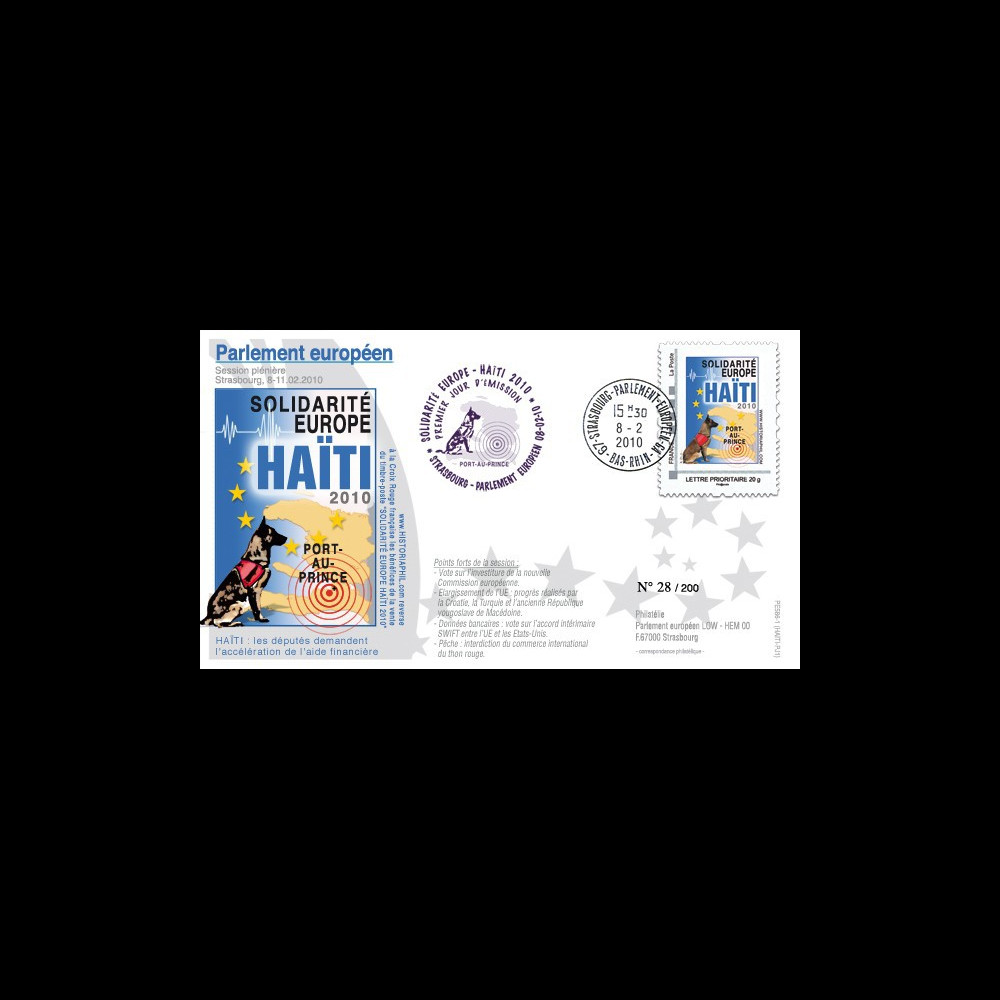 PE586-PJ1 : 2010 - FDC Session PE '1er Jour TPP Solidarité HAITI' - Prio 20g