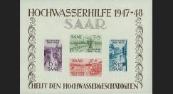 """SAR48BF1 : 1948 - Bloc-feuillet N°1 Sarre """"Aide aux sinistrés des inondations 1947-48"""