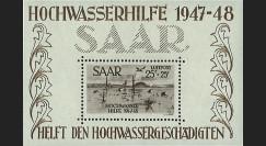 """SAR48BF2 : 1948 - Bloc-feuillet N°2 Sarre """"Aide aux sinistrés des inondations 1947-48"""""""