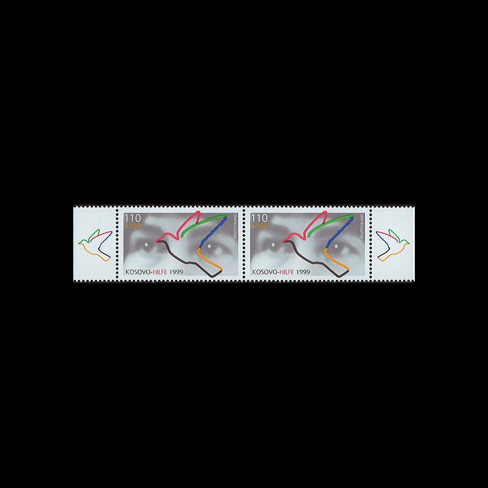 KO-D99NP : 1999 - Paire timbre d'entraide aux réfugiés 'Kosovo Hilfe'