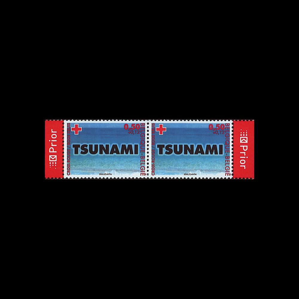 PE494-BO5NP : 2005 - Paire 2 valeurs Belgique 'Croix Rouge - Tsunami'