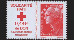 """HAITI-N3 : 2010 - TP France Croix Rouge """"Marianne rouge Solidarité Haïti"""" gommé"""