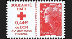 "HAITI-N4 : 2010 - TP France Croix Rouge ""Marianne rouge Solidarité Haïti"" adhésif"