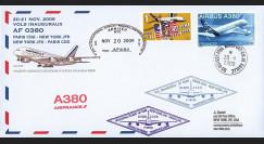 A380-87T7 : 2009 - Pli voyagé double-vol 'Vol inaugural A380 AF Paris-NY-Paris'