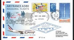 A380-87T9 : 2009 - Pli voyagé double-vol 'Vols inauguraux A380 AF Paris-NY-Paris'