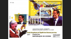 """A380-92 : 2007 - FDC Rép. de Guinée 1er Jour du bloc """"Airbus A380 et Président Sarkozy"""""""