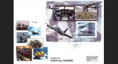 """A380-94 : 2008 - FDC Union des Comores 1er Jour du bloc """"Airbus A380 et Concorde F-BTSD"""""""