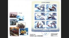 """A380-95 : 2008 - FDC Union des Comores 1er Jour du bloc """"Airbus A380"""