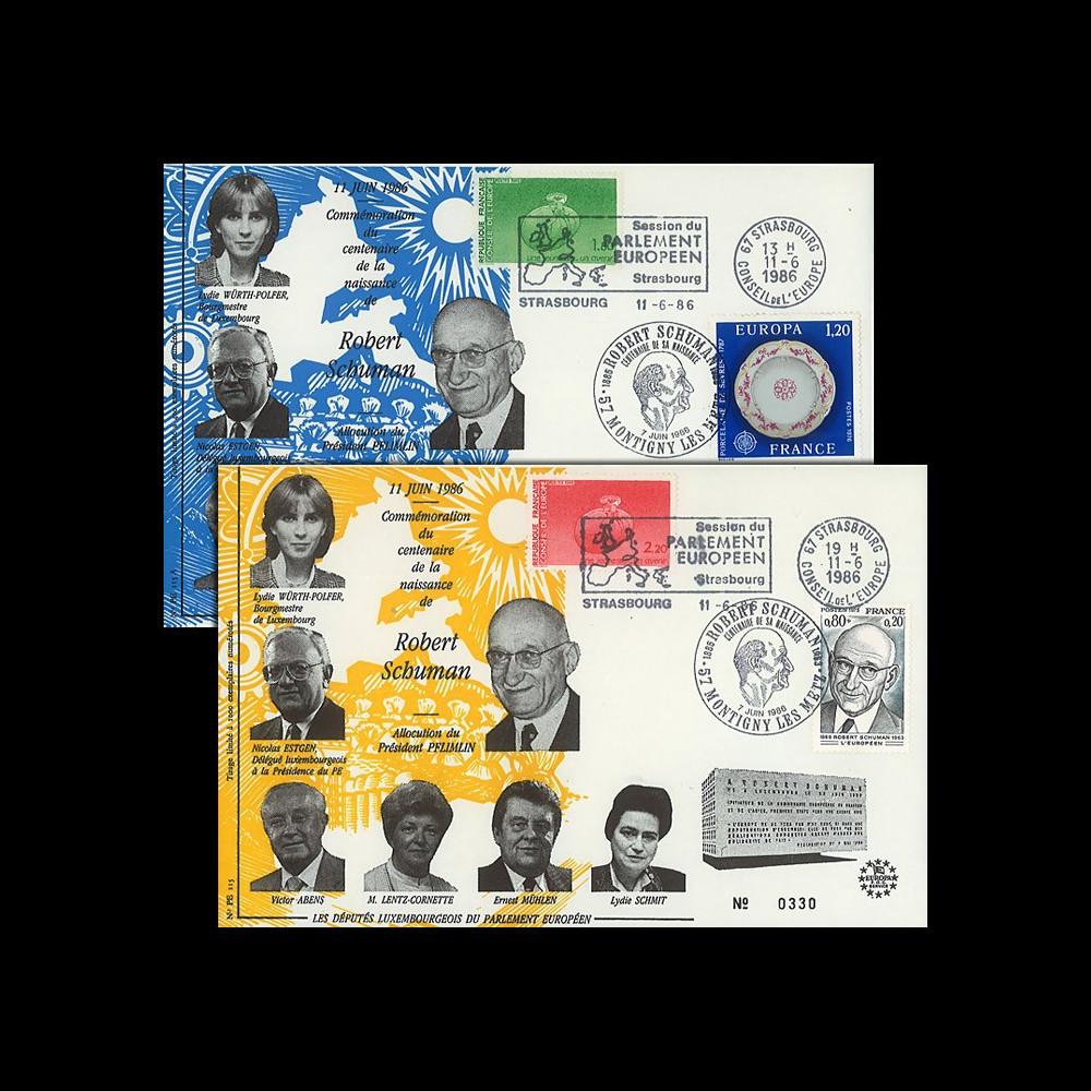 PE115+A : 1986 - 2 FDC Parlement européen 'Centenaire de la naissance de Schuman'