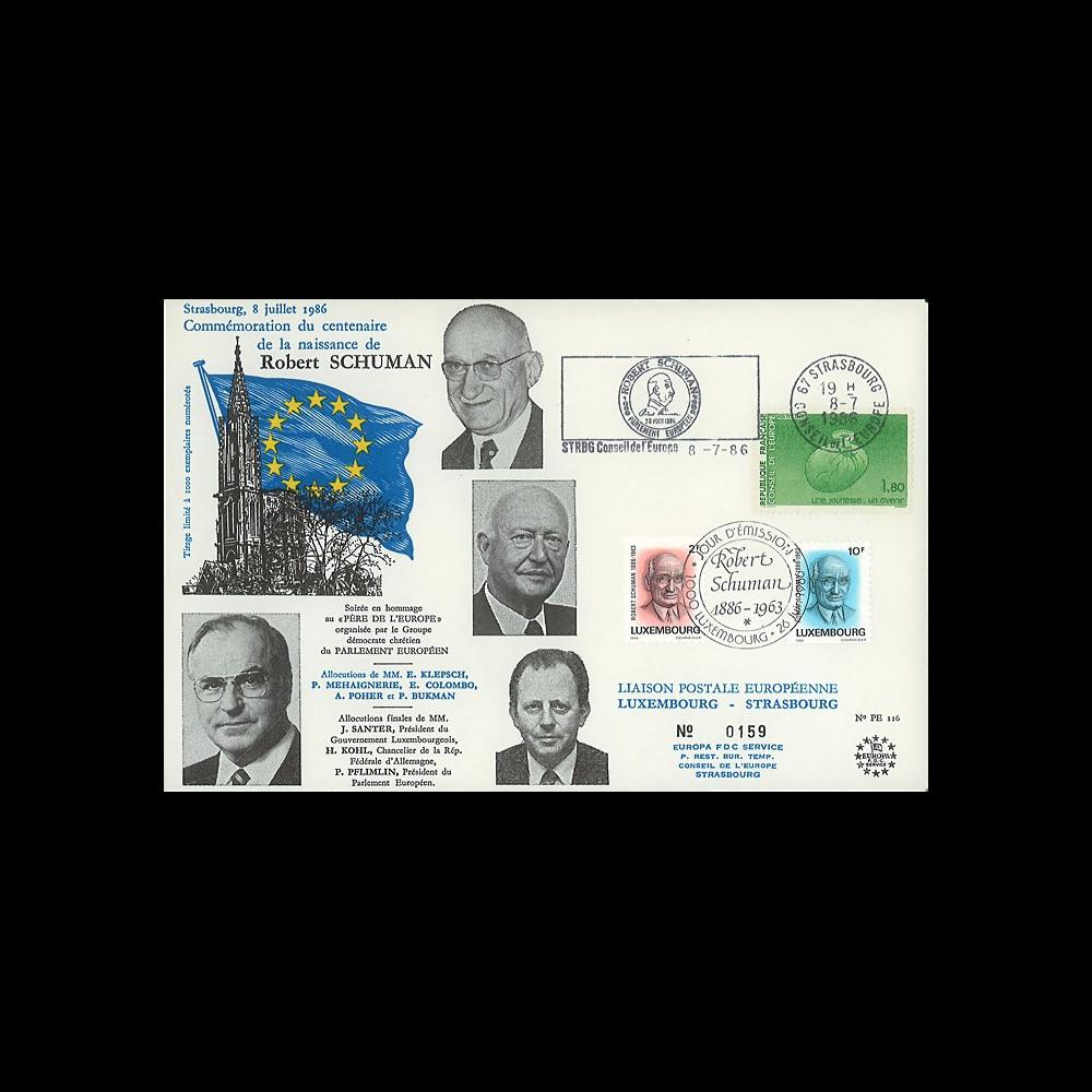 PE116 : 1986 - FDC Parlement eur. + Luxembourg 'Centenaire de la naissance de Schuman'