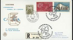LE21C : 1960 - FDC RECO 1er Jour Luxembourg - CE '20e anniversaire Plan Schuman'