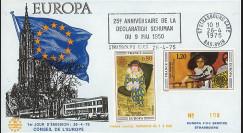 EU88 : 1975 - FDC CE - flamme Strasbourg-gare '25 ans Déclaration Schuman'