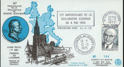 FE29D : 1975 - FDC CE 1er Jour TP 'Schuman' + flamme Strasbg-gare