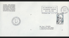 FE29Da : 1975 - Env. de service PE 1er Jour TP 'Schuman' + flamme Strasbg-gare