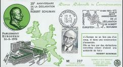 FE29F (AP124A) : 1975 - FDC PE 1er Jour TP 'Schuman' + flamme PE séance solennelle