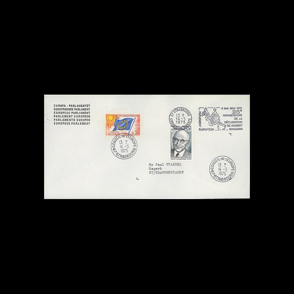 FE29Fa (AP124Aa) : 1975 - FDC PE 1er Jour TP 'Schuman' + flamme PE séance solennelle