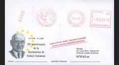 PE409b : 2000 - FDC empreinte flamme rouge 'Verklaring / Déclaration Robert Schuman'