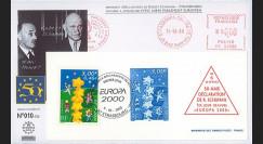 PE409G : 2000 - FDC Session du PE - 1er Jour TP Europa 'Schuman' sur gravure