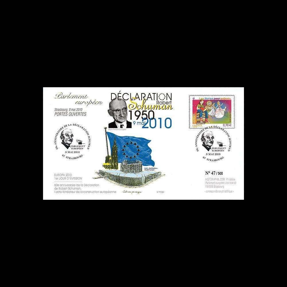 PE589 : 2010 - FDC Parlement européen '60e anniversaire Déclaration Schuman'