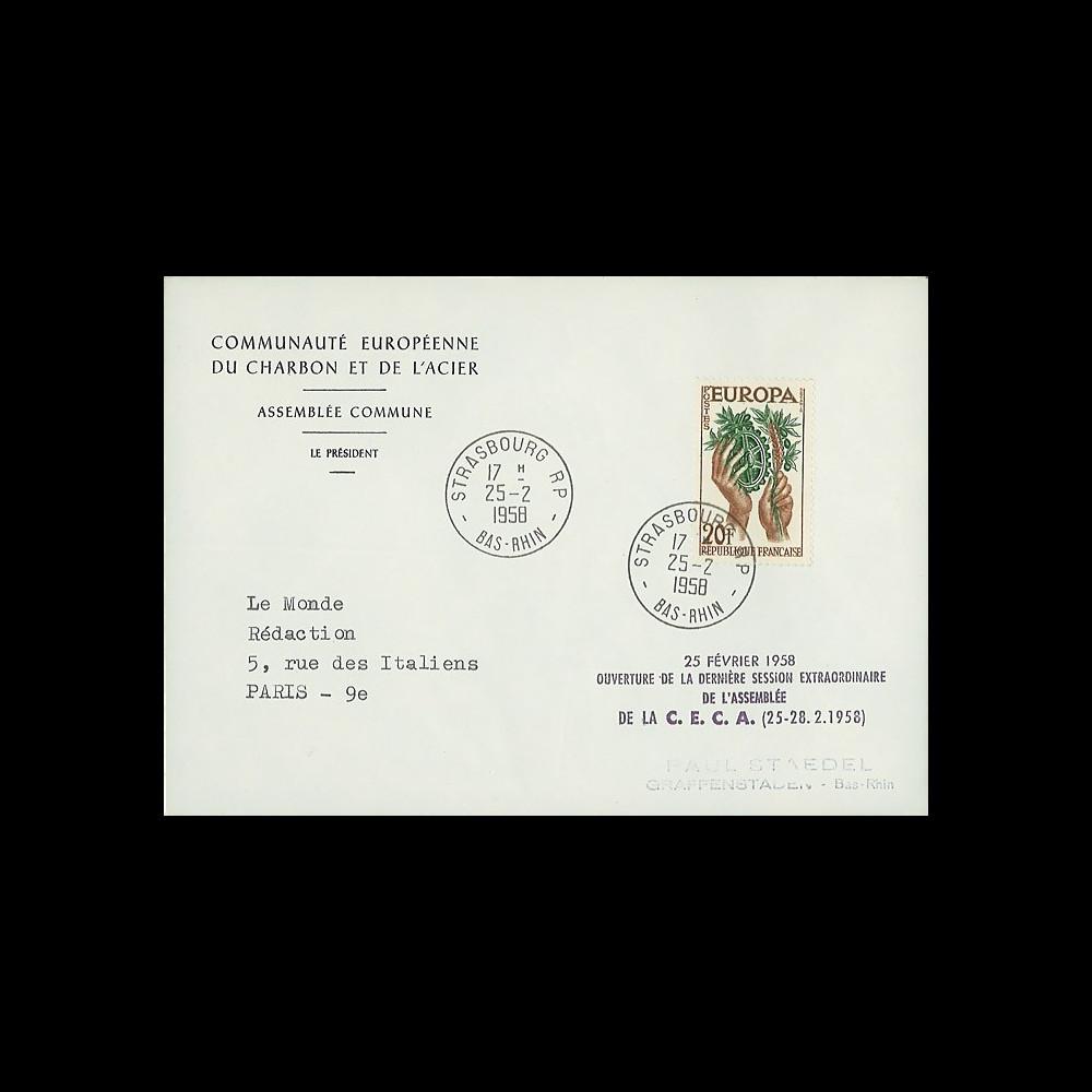 RD3 : 1958 - FDC '25 février 1958 - Ouverture de la dernière session de la CECA' - TP Europa
