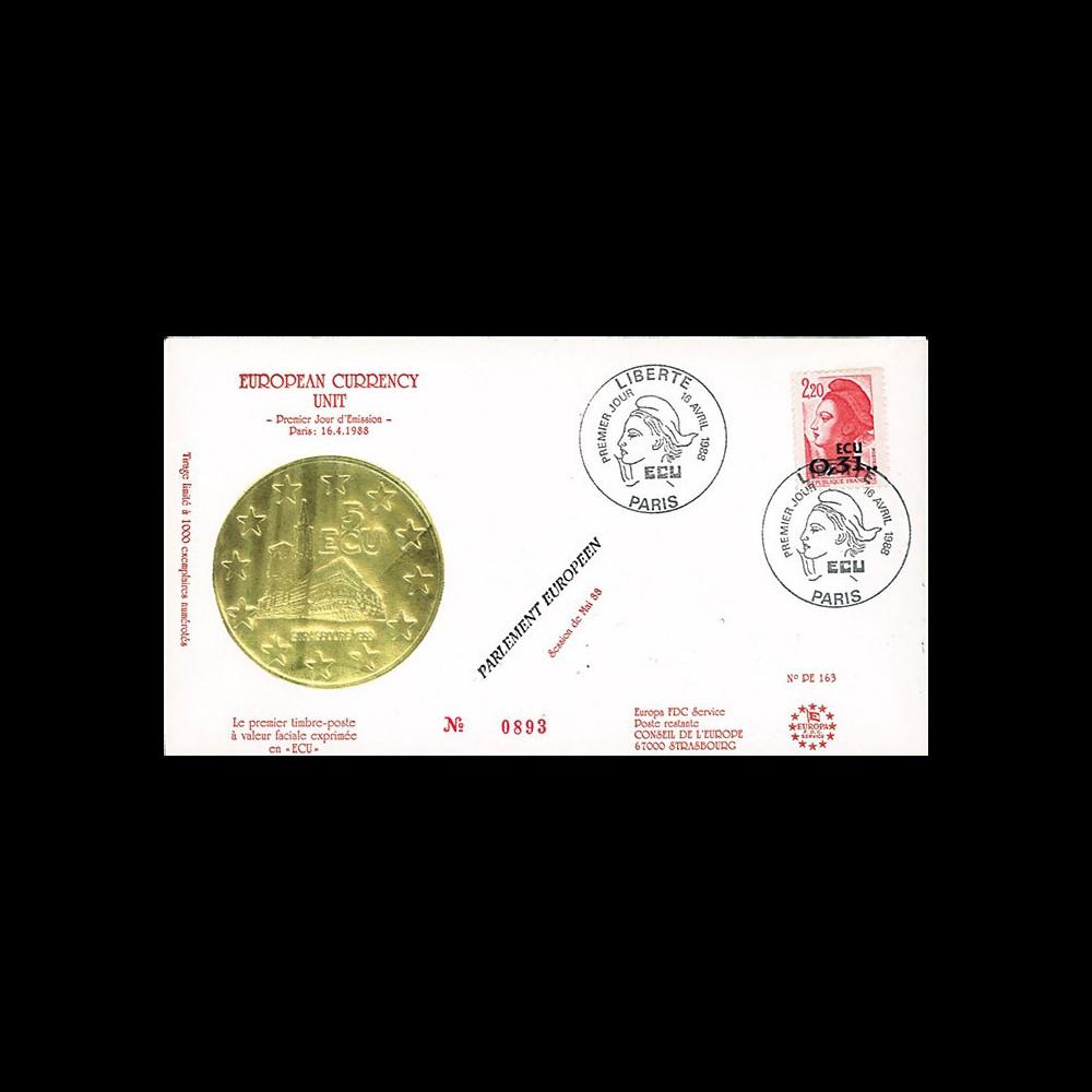 """PE163 : 1988 - FDC 1er Jour Paris """"Premier timbre à valeur faciale en ECU 0"""