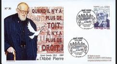 ABP3 : 2010 - FDC Premier Jour TP 'Abbé Pierre' gommé - oblitération Lyon