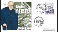 ABP4 : 2010 - FDC Premier Jour TP 'Abbé Pierre' gommé - oblitération Paris