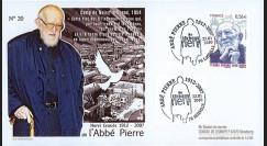 ABP5 : 2010 - FDC Premier Jour TP 'Abbé Pierre' adhésif - oblitération Esteville