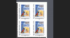 HAITI-N1B4 : 2010 - Bloc de 4 TPP 'Europe Solidarité Haïti 2010' - Lettre Prio 20g