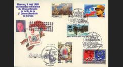 PE306-US2 : 1995 - FDC 'Délégation américaine - 50 ans Victoire' - Affrt Russie-USA-France
