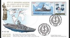 NAV09JA-2 : 2009 - FDC '45e et dernière mission du PH Jeanne d'Arc' - oblit. Brest