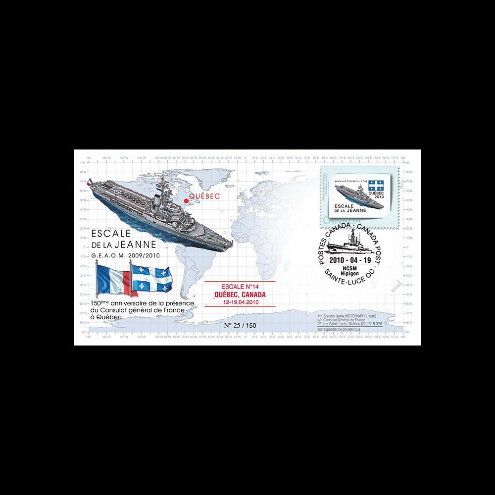 NAV09-3 : FDC Canada 'Dernière escale du P.H. Jeanne d'Arc à Quebec'