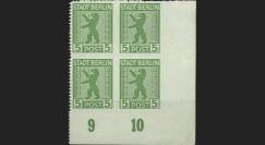 BERL45-1B4 : 1945 - Bloc de 4 TP 5 Pf 'Ours de Berlin' - dentelure Zigzag