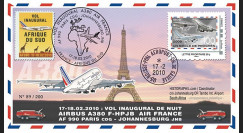 A380-96 : 2010 - FDC France 'Vol inaugural A380 Air France 'Paris-Johannesburg'