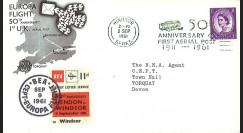 EU61-AV50 : 1961 - FDC GB '50 ans 1ère liaison postale aérienne en Angleterre