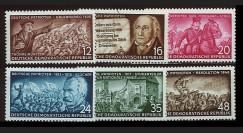 DDR140-145 : 1953 - 6 valeurs DDR 'Patriotes allemands'