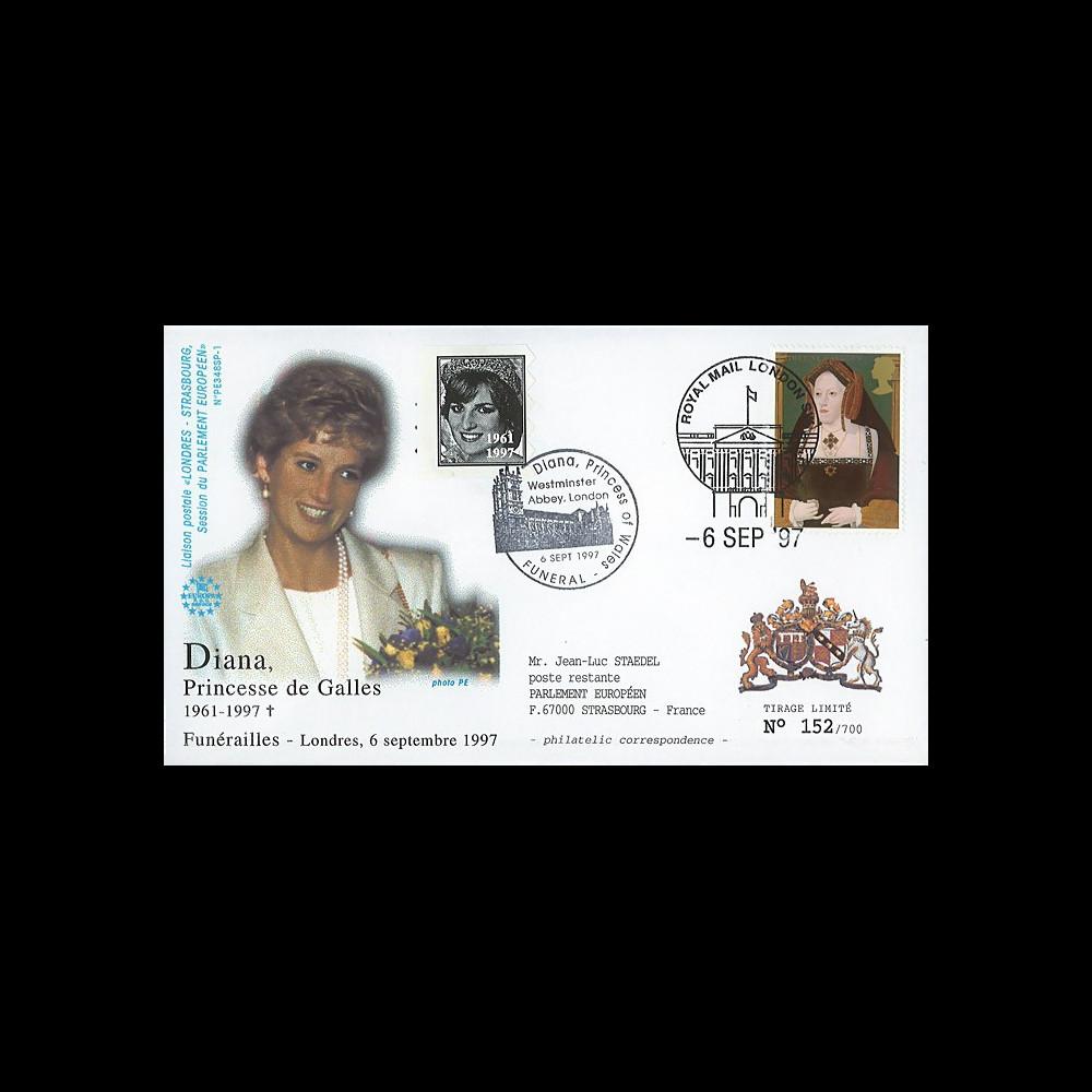 PE348SP-1 : 1997 - FDC Grande-Bretagne 'Funérailles de Lady Diana'