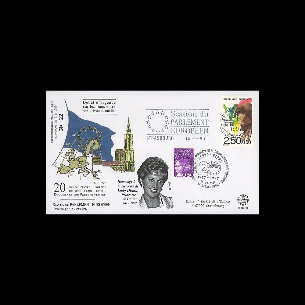 PE348-II : 1997 - FDC Session du Parlement européen 'Hommage à Lady Diana' - type2