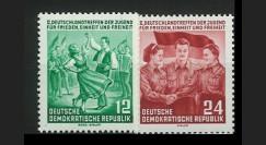 DDR166-167 : 1954 - 2 valeurs DDR '2e congrès mondial de la jeunesse pour la Paix'