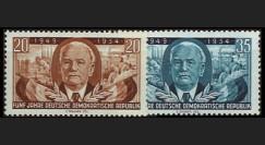 DDR173-174 : 1954 - 2 valeurs DDR '5e anniversaire de la RDA - Président Pieck'