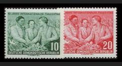 DDR187-188 : 1955 - 2 valeurs DDR '45e anniversaire de la Journée des Femmes'